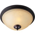 "Ophelia Collection 2-Light 14"" Colonial Umber Flush Mount with Burnished Lichen Glass 32300BLCU"