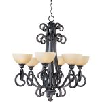 "Ophelia Collection 6-Light 35"" Colonial Umber Chandelier with Burnished Lichen Glass 32305BLCU"