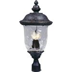 "Carriage House Collection 3-Light 26"" Oriental Bronze Outdoor Pier/Post Mount with Water Glass 3420WGOB"