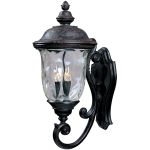"Carriage House Collection 3-Light 26"" Oriental Bronze Outdoor Wall Light with Water Glass 3424WGOB"