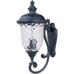 "Carriage House Collection 3-Light 31"" Oriental Bronze Outdoor Wall Light with Water Glass 3425WGOB"