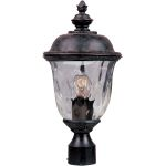 "Carriage House Collection 1-Light 19"" Oriental Bronze Outdoor Pier/Post Mount with Water Glass 3426WGOB"