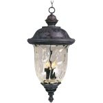 "Carriage House Collection 3-Light 14"" Oriental Bronze Outdoor Hanging Light with Water Glass 3428WGOB"