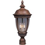 "Knob Hill Collection 3-Light 22"" Sienna Outdoor Pier/Post Mount with Seedy Glass 3460CDSE"