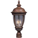 "Knob Hill Collection 3-Light 28"" Sienna Outdoor Pier/Post Mount with Seedy Glass 3461CDSE"