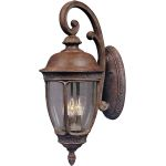 "Knob Hill Collection 3-Light 10"" Sienna Outdoor Wall Light with Seedy Glass 3465CDSE"