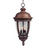 "Knob Hill Collection 3-Light 13"" Sienna Outdoor Hanging Light with Seedy Glass 3468CDSE"
