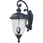 "Carriage House Collection 3-Light 31"" Oriental Bronze Outdoor Wall Light with Water Glass 3498WGOB"