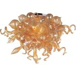 "Mimi Collection 12-Light 34"" Polished Chrome Semi-Flush Mount with Cognac Glass 39720COPC"