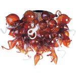 "Mimi Collection 12-Light 34"" Polished Chrome Semi-Flush Mount with Root Beer Glass 39720RBPC"