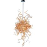 "Mimi Collection 6-Light 50"" Polished Chrome Pendant with Cognac Glass 39723COPC"