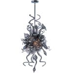 "Mimi Collection 6-Light 50"" Polished Chrome Pendant with Fume Glass 39723FMPC"