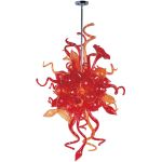 "Mimi Collection 6-Light 50"" Polished Chrome Pendant with Sunrise Glass 39723SRPC"