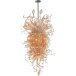 "Mimi Collection 18-Light 59"" Polished Chrome Pendant with Cognac Glass 39725COPC"