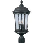 "Dover Collection 3-Light 25"" Bronze Outdoor Pier/Post Mount with Seedy Glass 40092CDBZ"