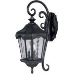 "Garden Collection 3-Light 9"" Oriental Bronze Outdoor Wall Light with Water Glass 40274WGOB"
