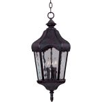 "Garden Collection 3-Light 11"" Oriental Bronze Outdoor Hanging Light with Water Glass 40279WGOB"