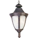 "Wakefield Collection 1-Light 11"" Empire Bronze Outdoor Hanging Light with Marble Glass 4037MREB"