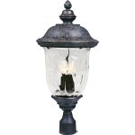 "Carriage House VX Collection 3-Light 26"" Oriental Bronze Outdoor Post Lantern with Water Glass 40420WGOB"