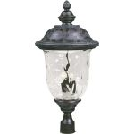 "Carriage House VX Collection 3-Light 29"" Oriental Bronze Outdoor Post Lantern with Water Glass 40421WGOB"