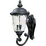 "Carriage House VX Collection 3-Light 26"" Oriental Bronze Outdoor Wall Lantern with Water Glass 40424WGOB"