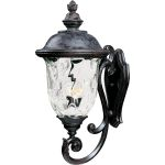 "Carriage House VX Collection 3-Light 31"" Oriental Bronze Outdoor Wall Lantern with Water Glass 40425WGOB"