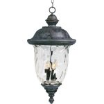 "Carriage House VX Collection 3-Light 24"" Oriental Bronze Outdoor Hanging Lantern with Water Glass 40427WGOB"