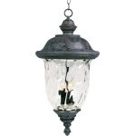 "Carriage House VX Collection 3-Light 28"" Oriental Bronze Outdoor Hanging Lantern with Water Glass 40428WGOB"