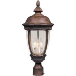 "Knob Hill Collection 3-Light 22"" Sienna Outdoor Pier/Post Mount with Seedy Glass 40460CDSE"