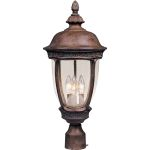 "Knob Hill Collection 3-Light 28"" Sienna Outdoor Pier/Post Mount with Seedy Glass 40461CDSE"