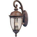 "Knob Hill Collection 3-Light 8"" Sienna Outdoor Wall Light with Seedy Glass 40464CDSE"