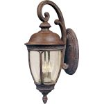 "Knob Hill Collection 3-Light 33"" Sienna Outdoor Wall Light with Seedy Glass 40466CDSE"