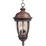 "Knob Hill Collection 3-Light 10"" Sienna Outdoor Hanging Light with Seedy Glass 40467CDSE"