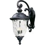 "Carriage House VX Collection 3-Light 31"" Oriental Bronze Outdoor Wall Lantern with Water Glass 40498WGOB"