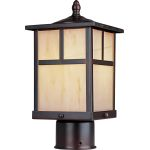 "Coldwater Collection 1-Light 12"" Burnished Outdoor Pier/Post Mount with Honey Glass 4055HOBU"