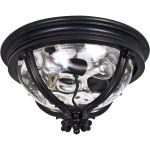 "Camden Collection 3-Light 16"" Black Outdoor Ceiling Light with Water Glass 41420WGBK"