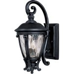 "Camden Collection 2-Light 19"" Black Outdoor Wall Light with Water Glass 41424WGBK"