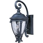 "Camden Collection 3-Light 24"" Black Outdoor Wall Light with Water Glass 41425WGBK"