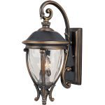 "Camden Collection 3-Light 24"" Golden Bronze Outdoor Wall Light with Water Glass 41425WGGO"