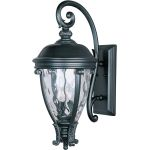 "Camden Collection 3-Light 29"" Black Outdoor Wall Light with Water Glass 41426WGBK"