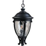 "Camden Collection 3-Light 26"" Black Outdoor Hanging Light with Water Glass 41429WGBK"