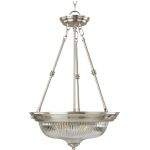 "Essentials Collection 3-Light 24"" Satin Nickel Pendant with Clear Glass 5824CLSN"