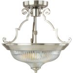 "Essentials Collection 2-Light 14"" Satin Nickel Semi-Flush Mount with Clear Glass 5829CLSN"