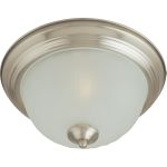 "Essentials Collection 1-Light 11"" Satin Nickel Flush Mount with Frosted Glass 5830FTSN"