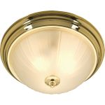 "Essentials Collection 2-Light 13"" Polished Brass Flush Mount with Frosted Glass 5831FTPB"