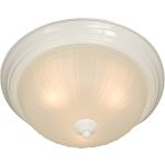 "Essentials Collection 2-Light 13"" White Flush Mount with Frosted Glass 5831FTWT"