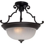 "Essentials Collection 2-Light 14"" Oil Rubbed Bronze Semi-Flush Mount with Frosted Glass 5833FTOI"