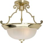 "Essentials Collection 2-Light 14"" Polished Brass Semi-Flush Mount with Frosted Glass 5833FTPB"