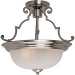 "Essentials Collection 2-Light 14"" Satin Nickel Semi-Flush Mount with Frosted Glass 5833FTSN"