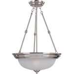 "Essentials Collection 3-Light 24"" Satin Nickel Pendant with Frosted Glass 5835FTSN"
